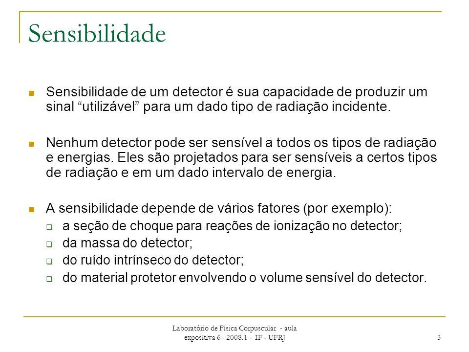 Sensibilidade Sensibilidade de um detector é sua capacidade de produzir um sinal utilizável para um dado tipo de radiação incidente.