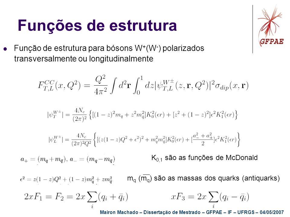Funções de estrutura Função de estrutura para bósons W+(W-) polarizados. transversalmente ou longitudinalmente.