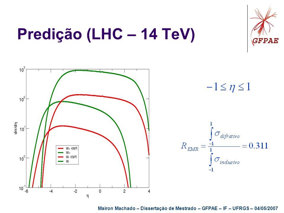 Predição (LHC – 14 TeV) Mairon Machado – Dissertação de Mestrado – GFPAE – IF – UFRGS – 04/05/2007