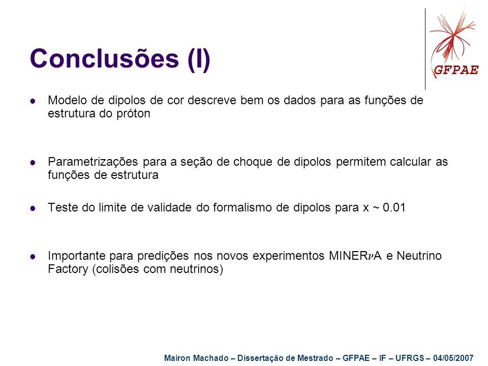 Conclusões (I) Modelo de dipolos de cor descreve bem os dados para as funções de estrutura do próton.