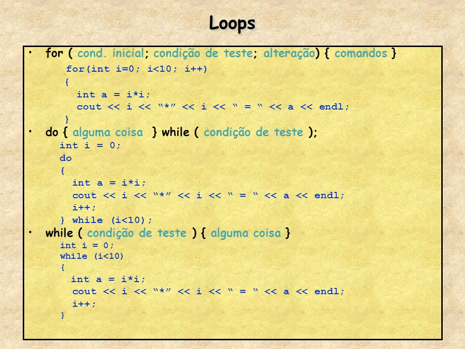 Loops for(int i=0; i<10; i++)