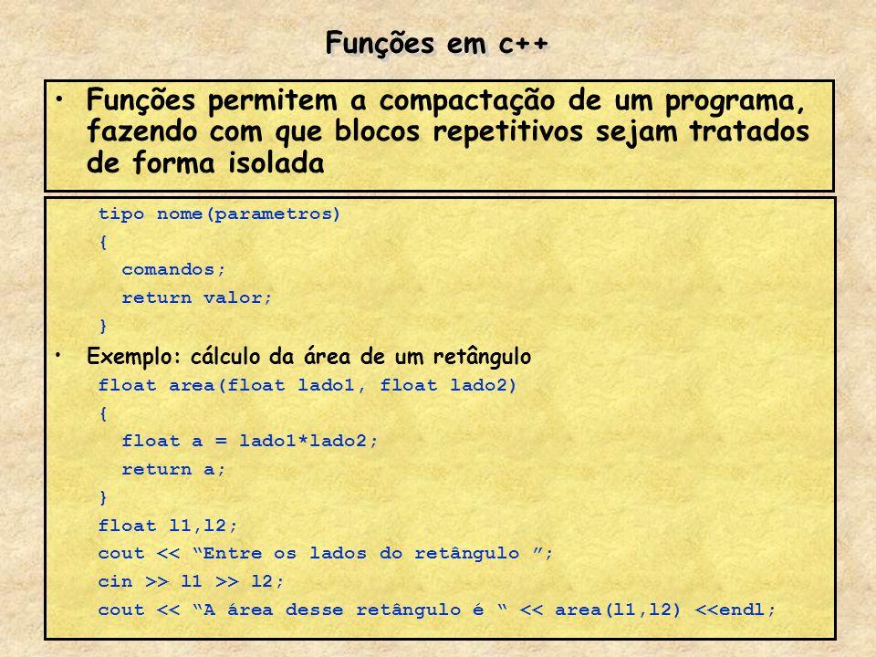 Funções em c++Funções permitem a compactação de um programa, fazendo com que blocos repetitivos sejam tratados de forma isolada.