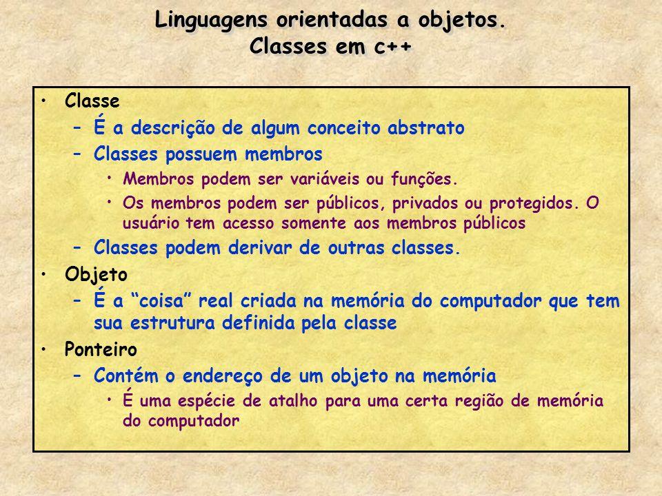 Linguagens orientadas a objetos. Classes em c++