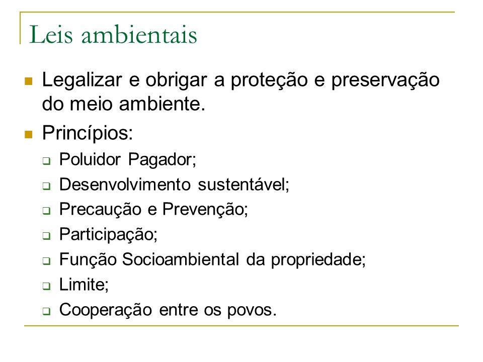 Leis ambientaisLegalizar e obrigar a proteção e preservação do meio ambiente. Princípios: Poluidor Pagador;