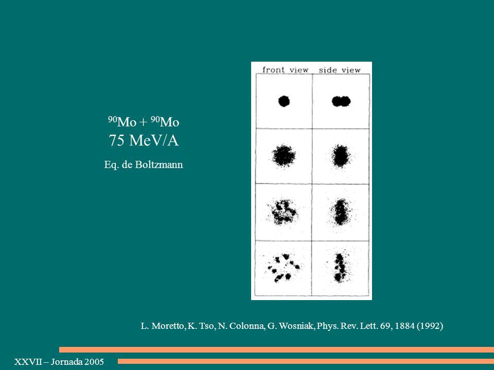 75 MeV/A 90Mo + 90Mo Eq. de Boltzmann