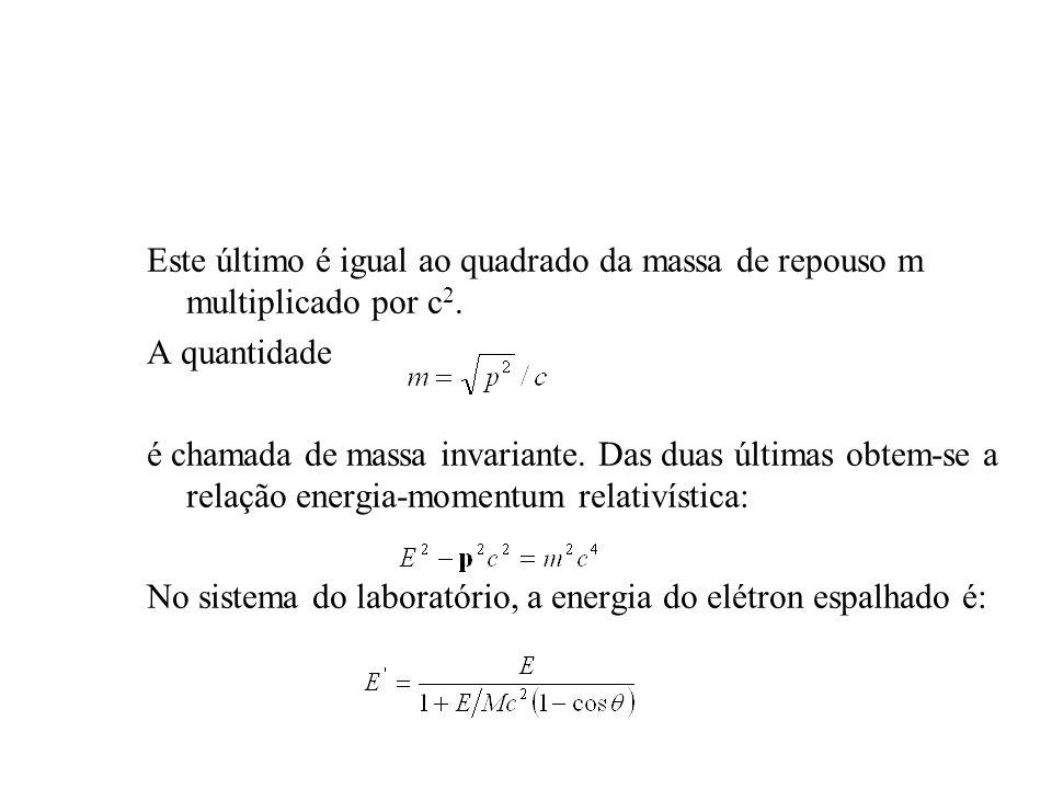 Este último é igual ao quadrado da massa de repouso m multiplicado por c2.