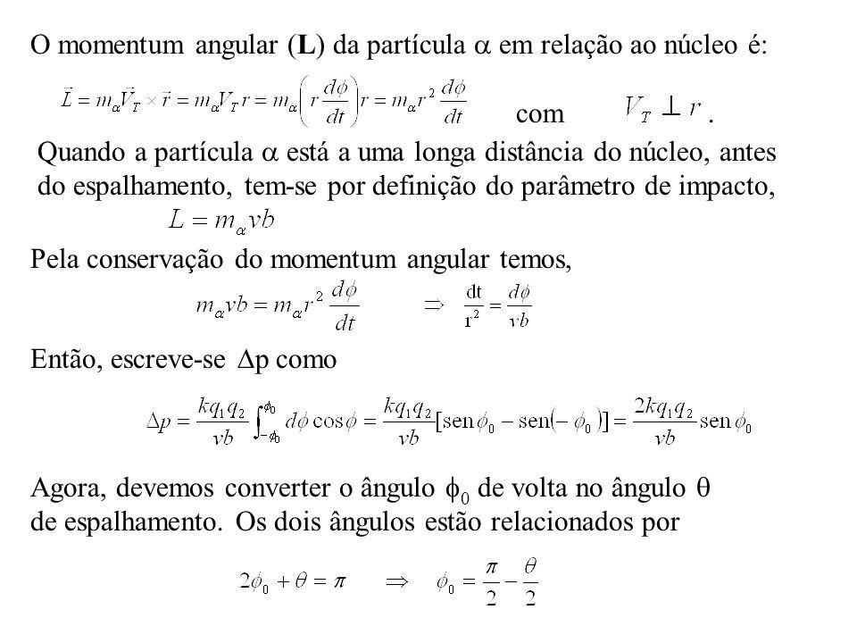 O momentum angular (L) da partícula  em relação ao núcleo é: com .