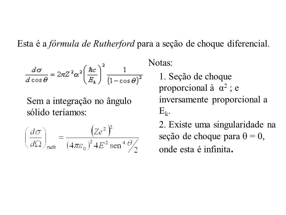 Esta é a fórmula de Rutherford para a seção de choque diferencial.