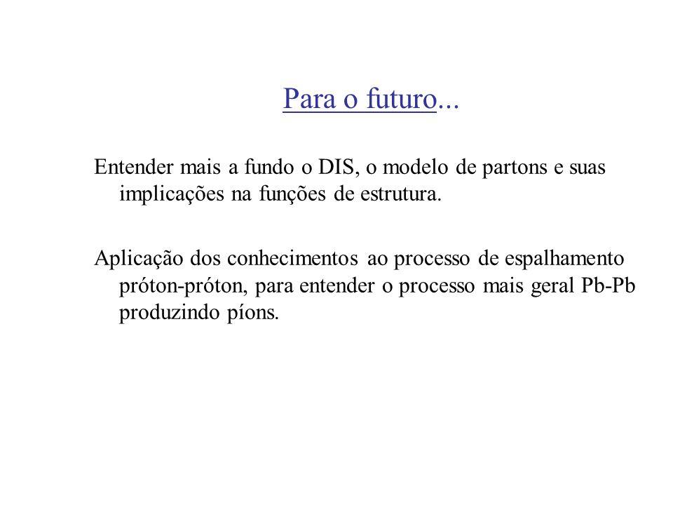 Para o futuro...Entender mais a fundo o DIS, o modelo de partons e suas implicações na funções de estrutura.