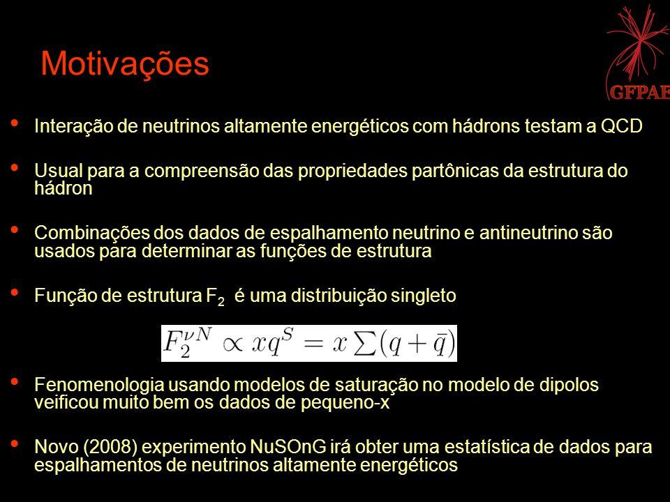 Motivações Interação de neutrinos altamente energéticos com hádrons testam a QCD.