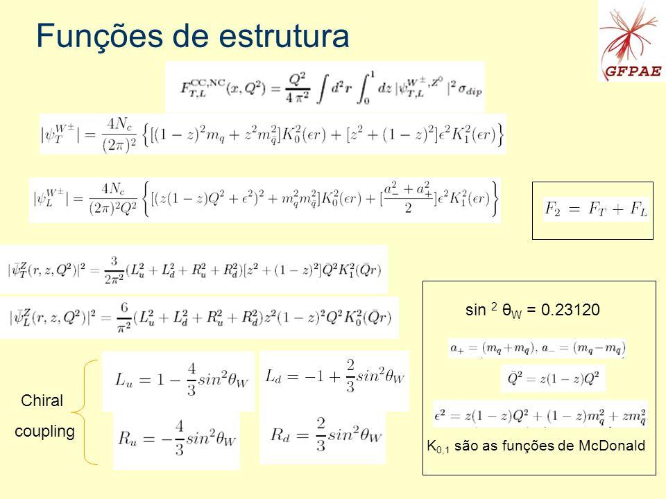 Funções de estrutura sin 2 θW = 0.23120 Chiral coupling