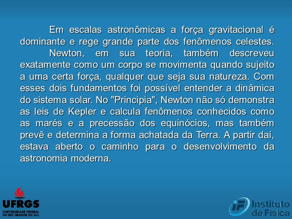 Em escalas astronômicas a força gravitacional é dominante e rege grande parte dos fenômenos celestes.