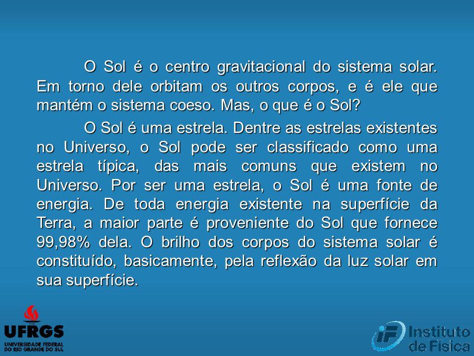 O Sol é o centro gravitacional do sistema solar