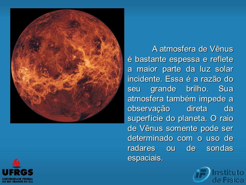 A atmosfera de Vênus é bastante espessa e reflete a maior parte da luz solar incidente.