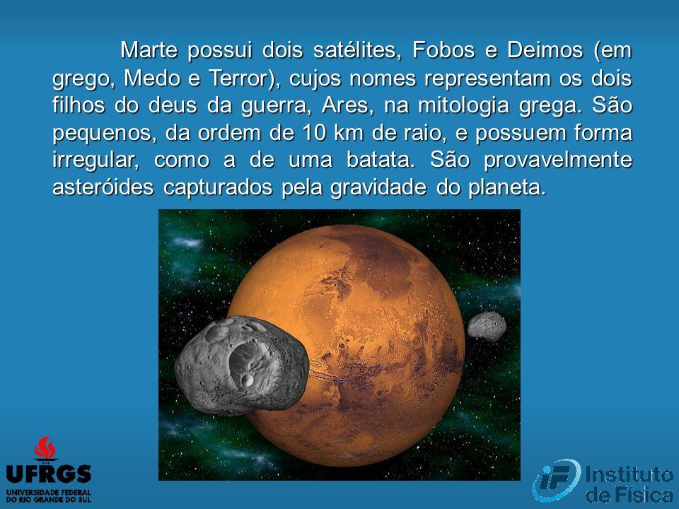 Marte possui dois satélites, Fobos e Deimos (em grego, Medo e Terror), cujos nomes representam os dois filhos do deus da guerra, Ares, na mitologia grega.