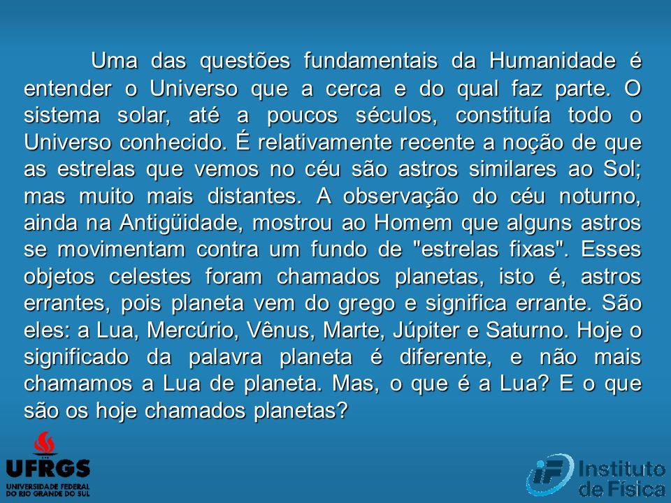 Uma das questões fundamentais da Humanidade é entender o Universo que a cerca e do qual faz parte.
