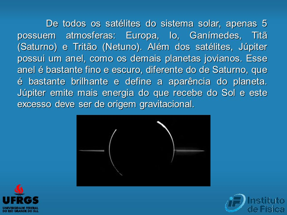 De todos os satélites do sistema solar, apenas 5 possuem atmosferas: Europa, Io, Ganímedes, Titã (Saturno) e Tritão (Netuno).
