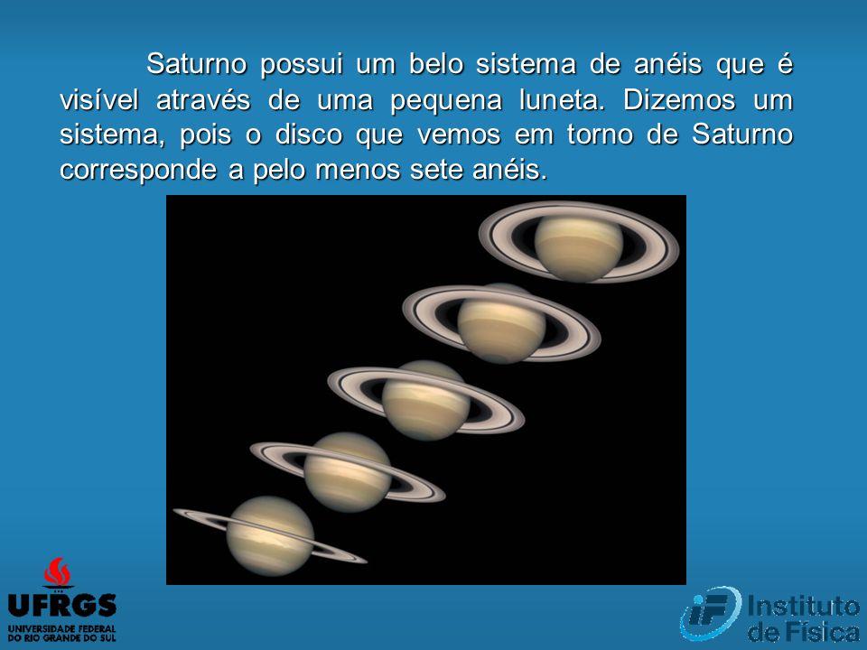 Saturno possui um belo sistema de anéis que é visível através de uma pequena luneta.