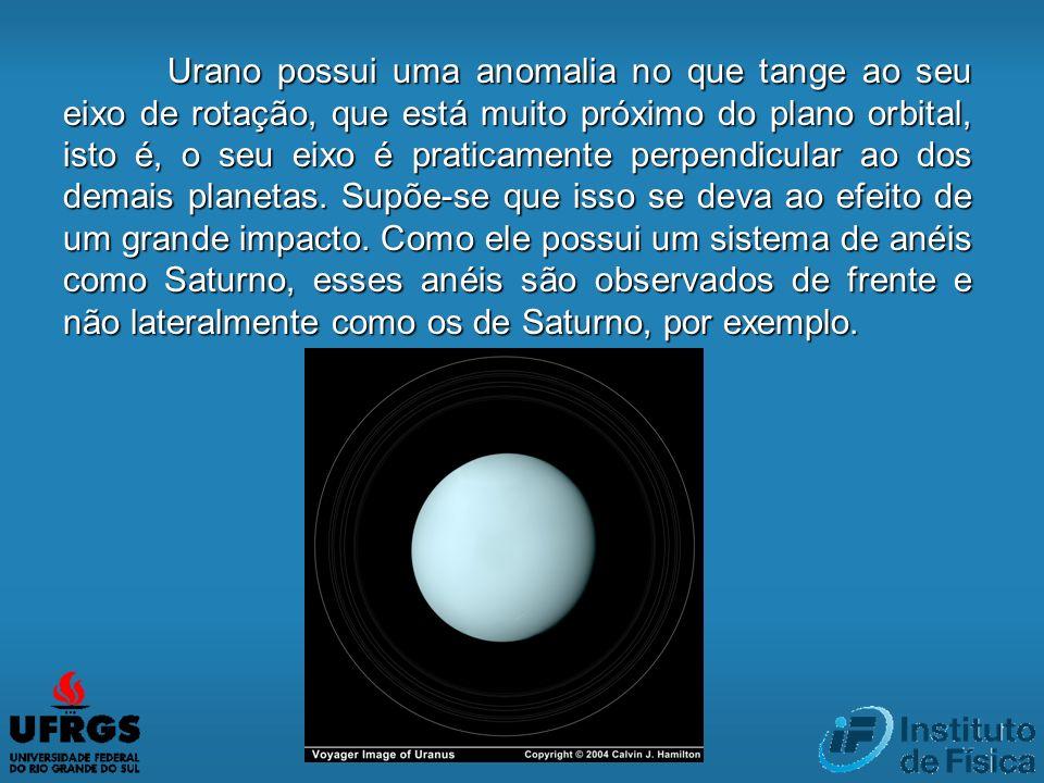 Urano possui uma anomalia no que tange ao seu eixo de rotação, que está muito próximo do plano orbital, isto é, o seu eixo é praticamente perpendicular ao dos demais planetas.