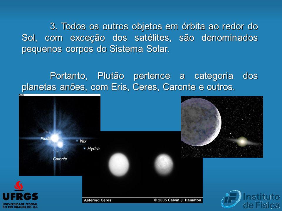 3. Todos os outros objetos em órbita ao redor do Sol, com exceção dos satélites, são denominados pequenos corpos do Sistema Solar.