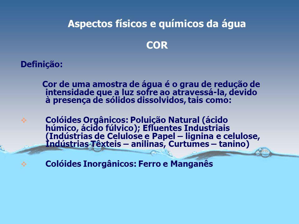 Aspectos físicos e químicos da água COR