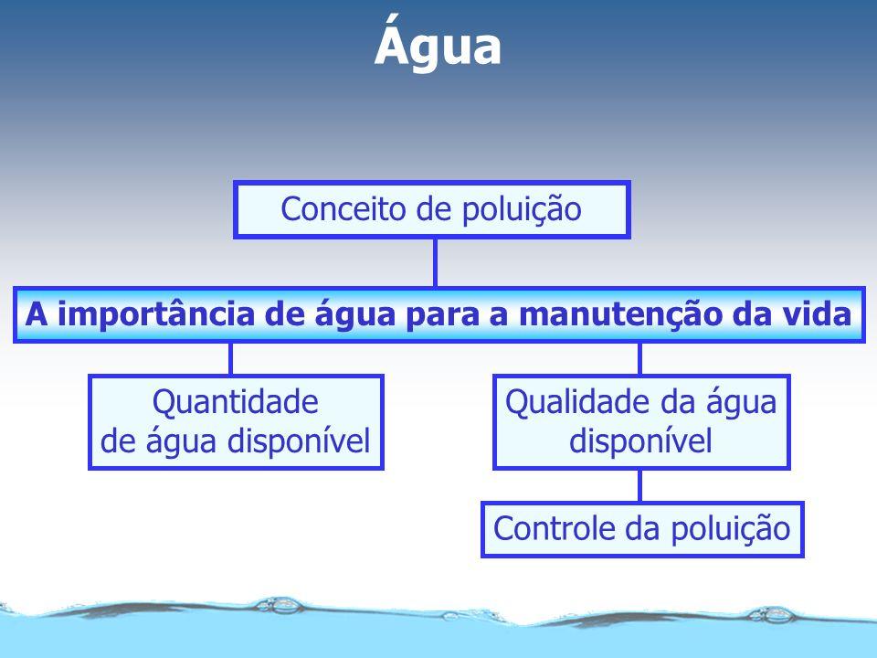 A importância de água para a manutenção da vida