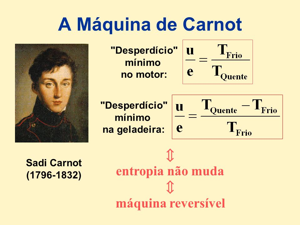 A Máquina de Carnot  entropia não muda máquina reversível