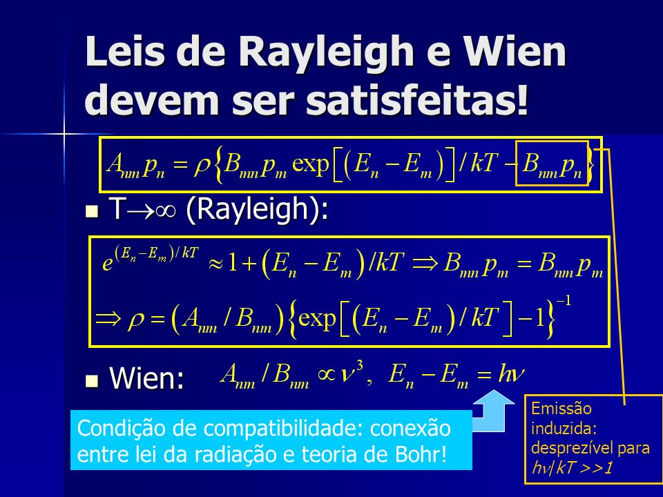 Leis de Rayleigh e Wien devem ser satisfeitas!