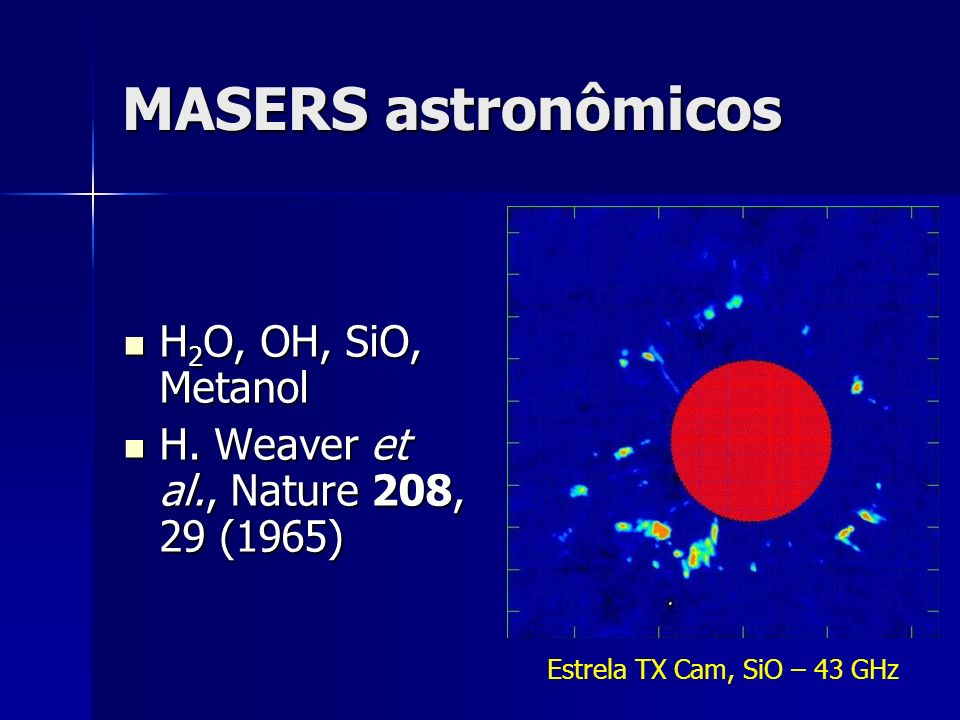 MASERS astronômicos H2O, OH, SiO, Metanol