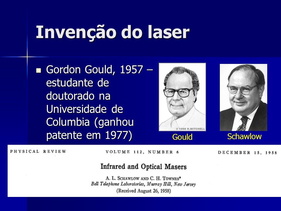 Invenção do laser Gordon Gould, 1957 – estudante de doutorado na Universidade de Columbia (ganhou patente em 1977)