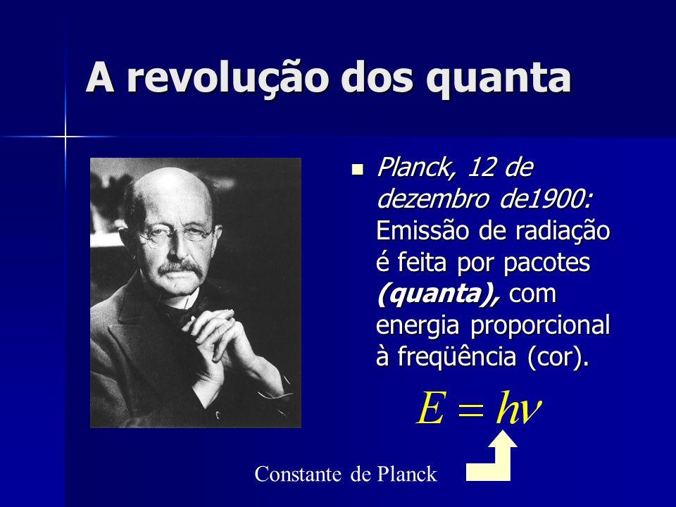 A revolução dos quantaPlanck, 12 de dezembro de1900: Emissão de radiação é feita por pacotes (quanta), com energia proporcional à freqüência (cor).