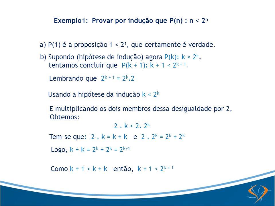 Exemplo1: Provar por indução que P(n) : n < 2n