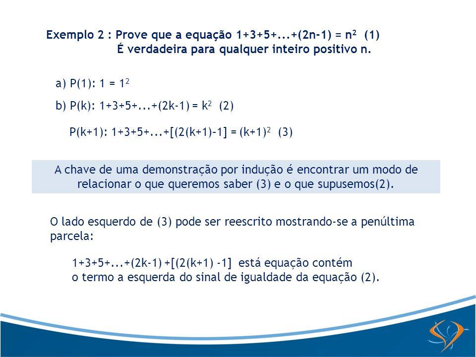 Exemplo 2 : Prove que a equação 1+3+5+...+(2n-1) = n2 (1)