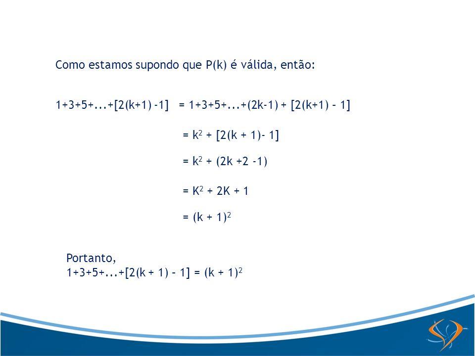 Como estamos supondo que P(k) é válida, então: