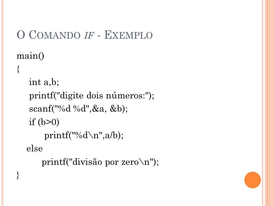 O Comando if - Exemplo