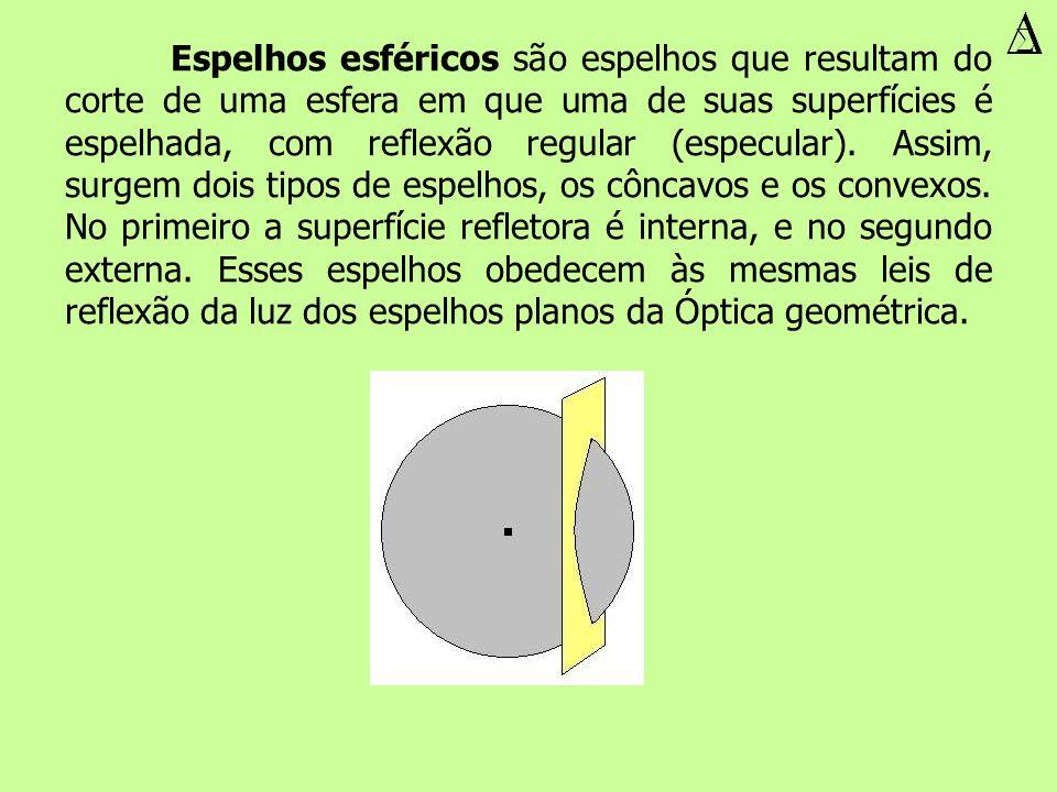 Espelhos esféricos são espelhos que resultam do corte de uma esfera em que uma de suas superfícies é espelhada, com reflexão regular (especular).