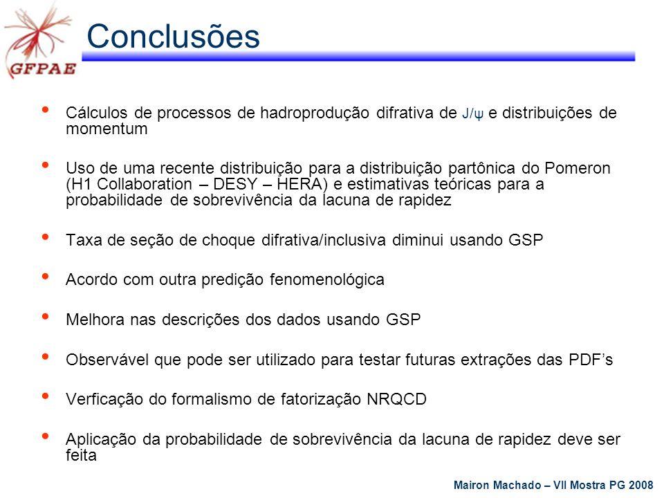 Conclusões Cálculos de processos de hadroprodução difrativa de J/ψ e distribuições de momentum.