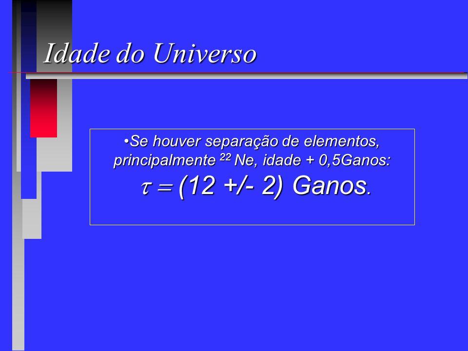 Idade do Universo t = (12 +/- 2) Ganos.