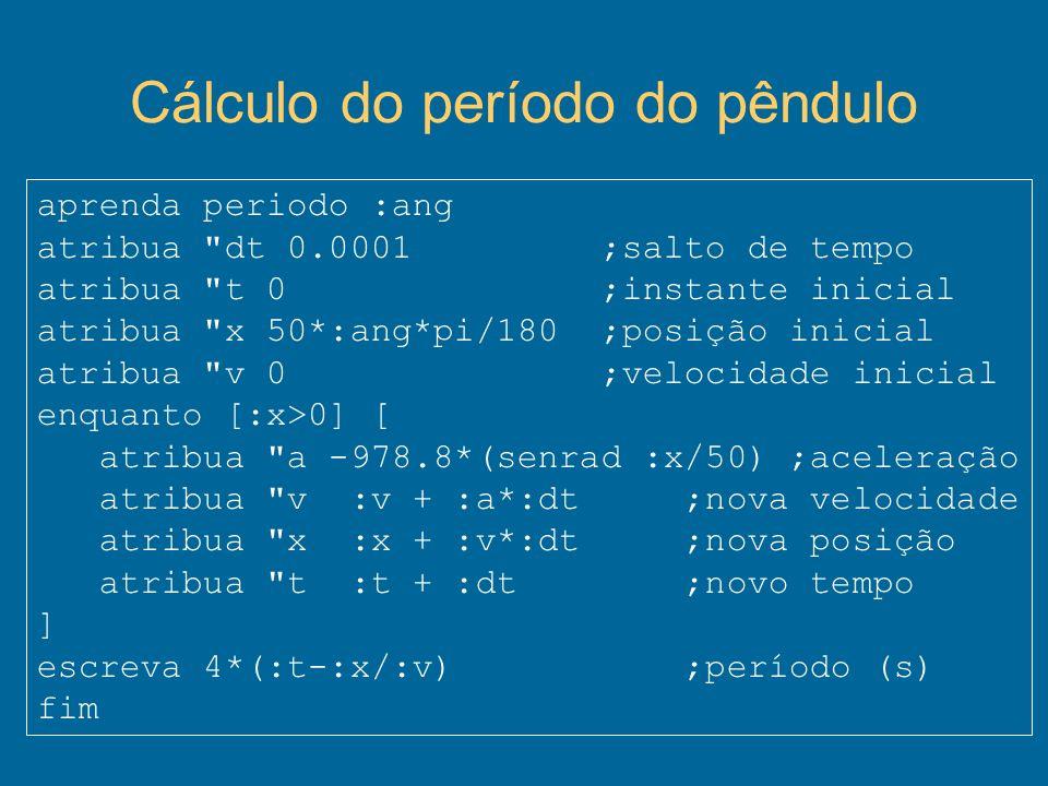 Cálculo do período do pêndulo