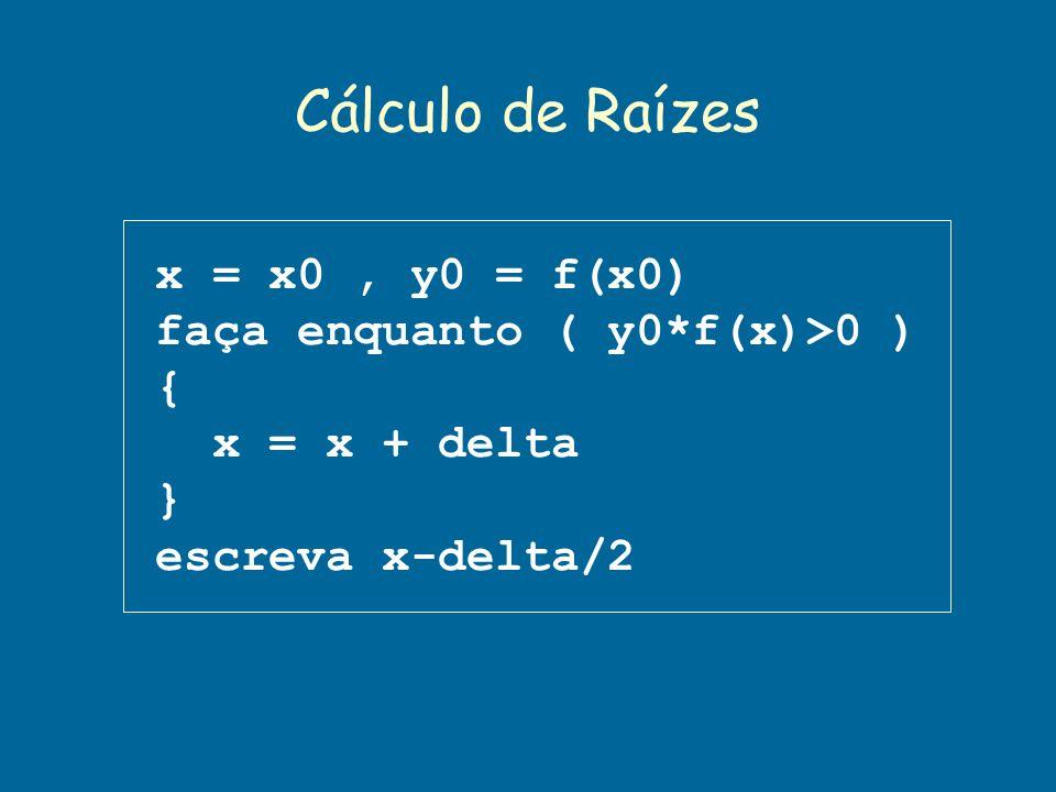 Cálculo de Raízes x = x0 , y0 = f(x0) faça enquanto ( y0*f(x)>0 ) {