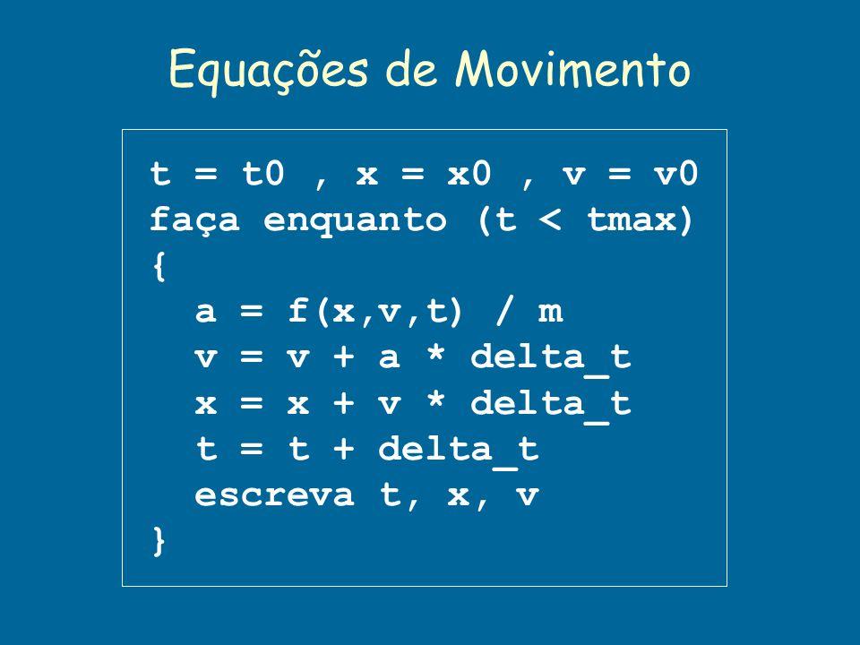Equações de Movimento t = t0 , x = x0 , v = v0