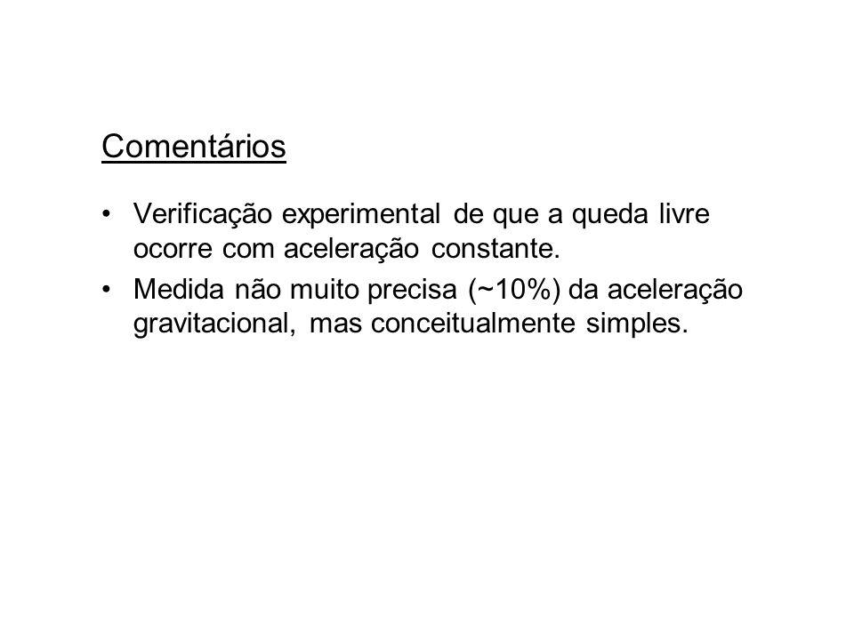 Comentários Verificação experimental de que a queda livre ocorre com aceleração constante.