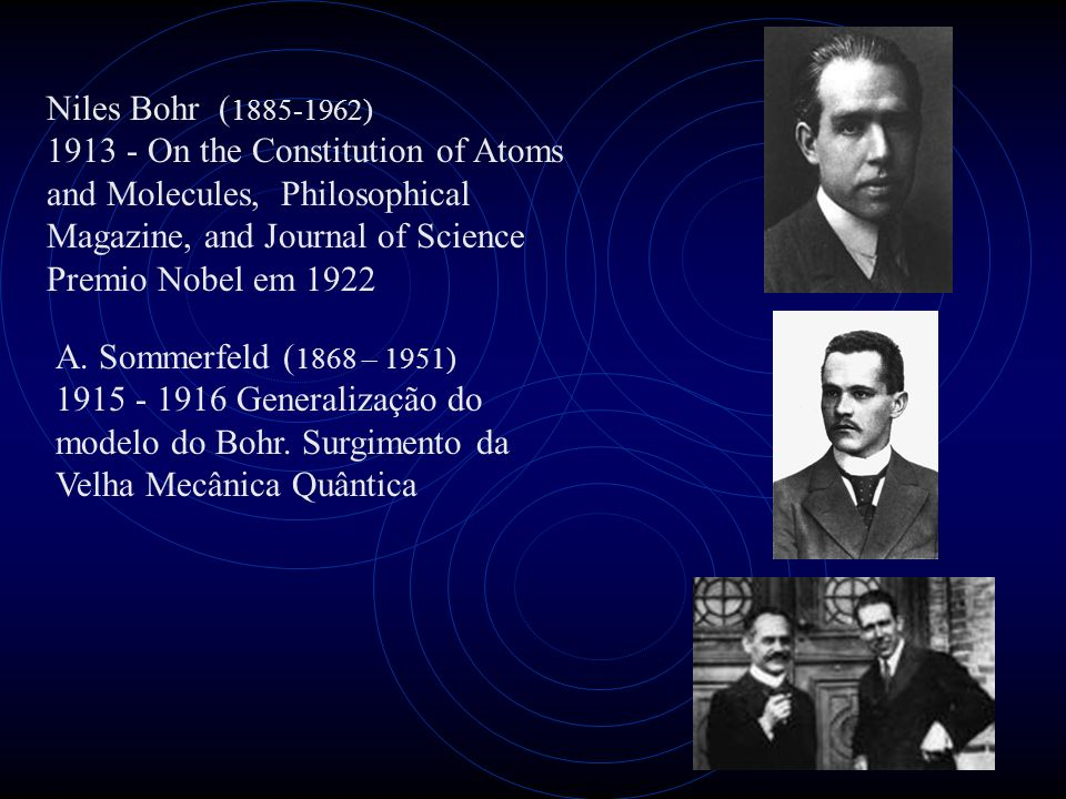 Niles Bohr (1885-1962)1913 - On the Constitution of Atoms and Molecules, Philosophical Magazine, and Journal of Science.