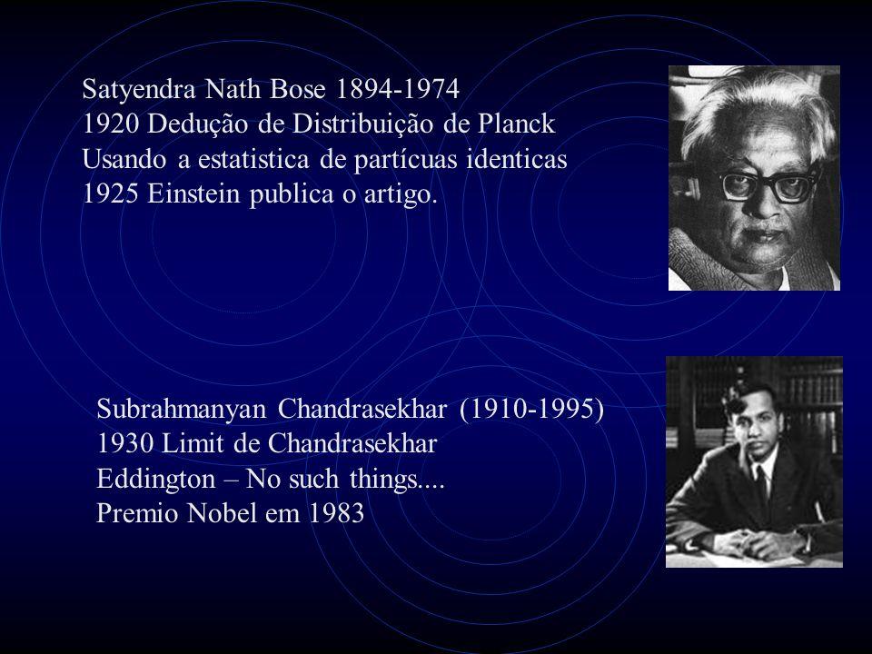 Satyendra Nath Bose 1894-1974 1920 Dedução de Distribuição de Planck. Usando a estatistica de partícuas identicas.