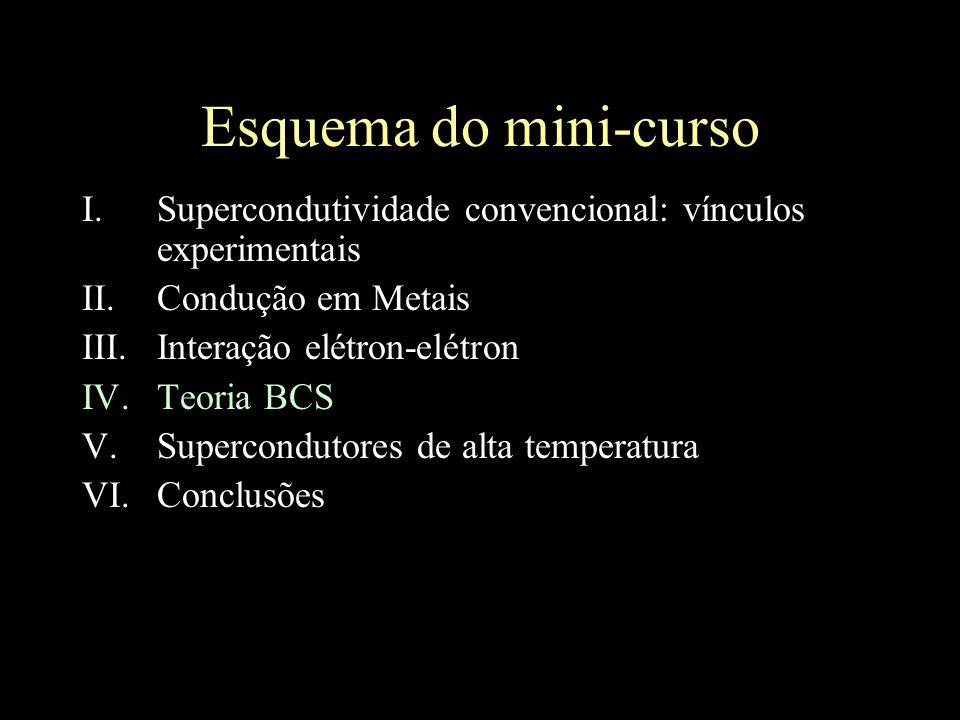 Esquema do mini-curso Supercondutividade convencional: vínculos experimentais. Condução em Metais.