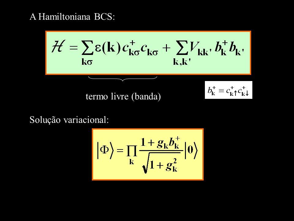 A Hamiltoniana BCS: termo livre (banda) Solução variacional: