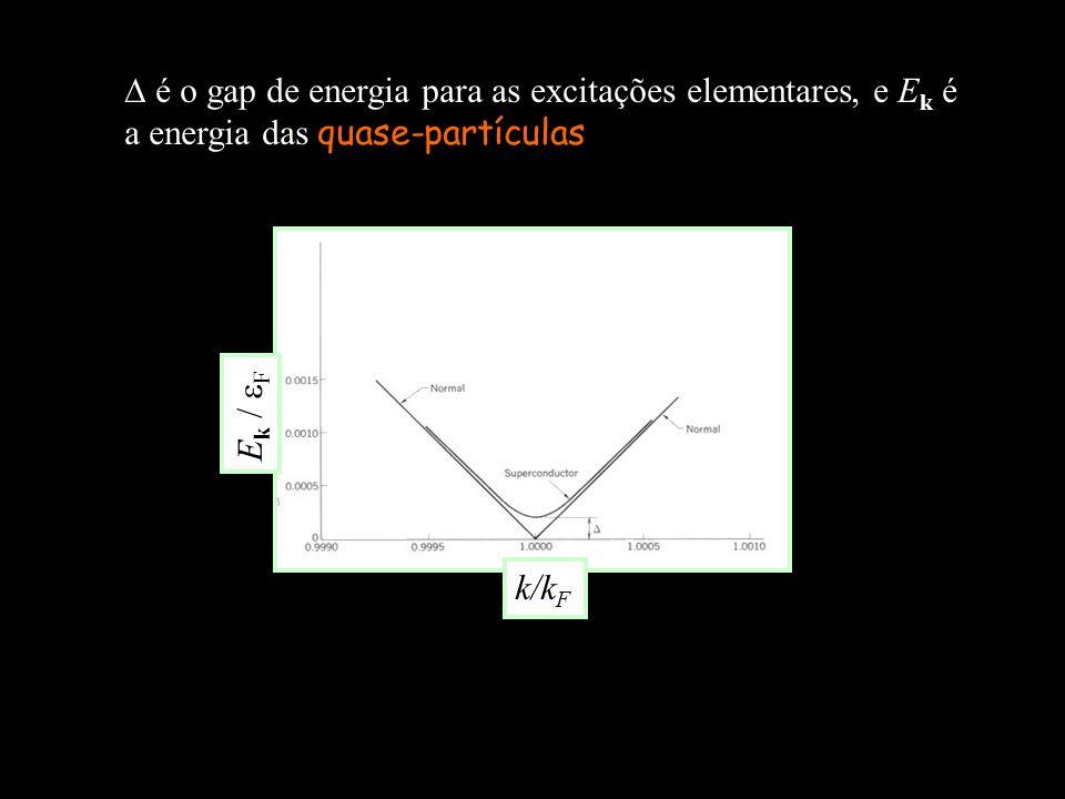 é o gap de energia para as excitações elementares, e Ek é