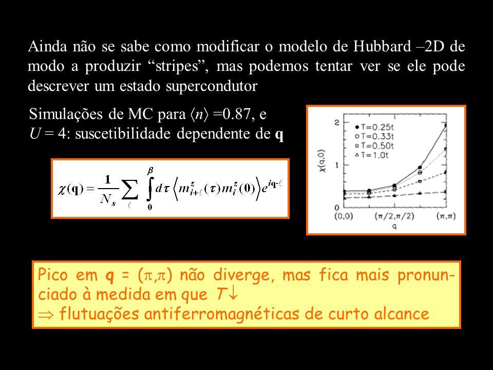 Ainda não se sabe como modificar o modelo de Hubbard –2D de modo a produzir stripes , mas podemos tentar ver se ele pode descrever um estado supercondutor