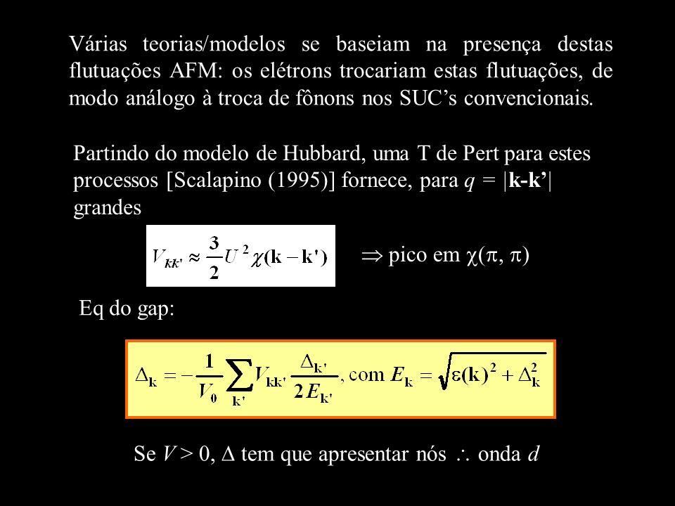 Várias teorias/modelos se baseiam na presença destas flutuações AFM: os elétrons trocariam estas flutuações, de modo análogo à troca de fônons nos SUC's convencionais.