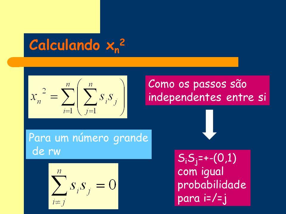 Calculando xn2 Como os passos são independentes entre si